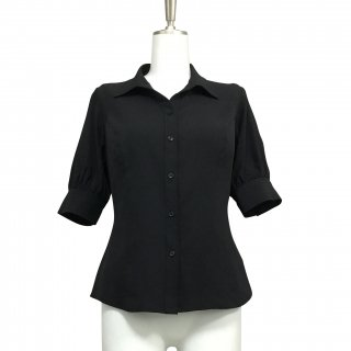 <img class='new_mark_img1' src='https://img.shop-pro.jp/img/new/icons13.gif' style='border:none;display:inline;margin:0px;padding:0px;width:auto;' />Shirt Blouse(5分袖)-Black-