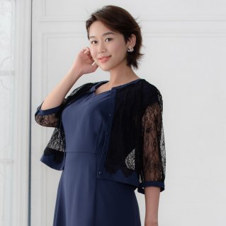 【30%OFF】Lace Cardigan Round neck -Navy-
