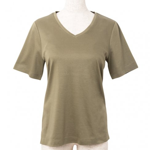 <img class='new_mark_img1' src='https://img.shop-pro.jp/img/new/icons11.gif' style='border:none;display:inline;margin:0px;padding:0px;width:auto;' />T-shirt V neck - Khaki-