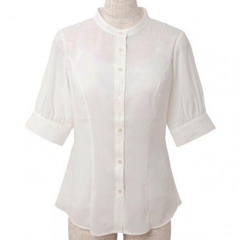 <img class='new_mark_img1' src='https://img.shop-pro.jp/img/new/icons20.gif' style='border:none;display:inline;margin:0px;padding:0px;width:auto;' />【30%OFF】Standup collar blouse-White-(5分袖ストレッチ素材)