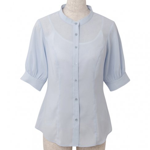 <img class='new_mark_img1' src='https://img.shop-pro.jp/img/new/icons20.gif' style='border:none;display:inline;margin:0px;padding:0px;width:auto;' />【30%OFF】Standup collar blouse-Sax-(5分袖ストレッチ素材)