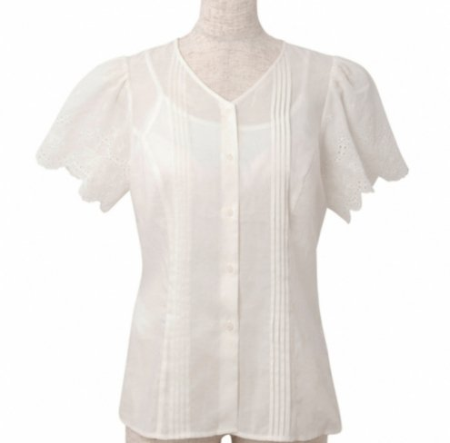 <img class='new_mark_img1' src='https://img.shop-pro.jp/img/new/icons20.gif' style='border:none;display:inline;margin:0px;padding:0px;width:auto;' />【30%OFF】Pin tuck blouse-White-(刺繍袖ピンタックブラウス)