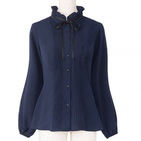 <img class='new_mark_img1' src='https://img.shop-pro.jp/img/new/icons11.gif' style='border:none;display:inline;margin:0px;padding:0px;width:auto;' />Blouse with Ribbon-Navy-(リボン付きピンタックブラウス)