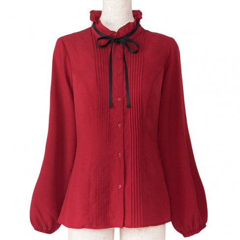 <img class='new_mark_img1' src='https://img.shop-pro.jp/img/new/icons11.gif' style='border:none;display:inline;margin:0px;padding:0px;width:auto;' />Blouse with Ribbon-Bordeaux-(リボン付きピンタックブラウス)