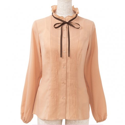 <img class='new_mark_img1' src='https://img.shop-pro.jp/img/new/icons11.gif' style='border:none;display:inline;margin:0px;padding:0px;width:auto;' />Blouse with Ribbon-Brown-(リボン付きピンタックブラウス)