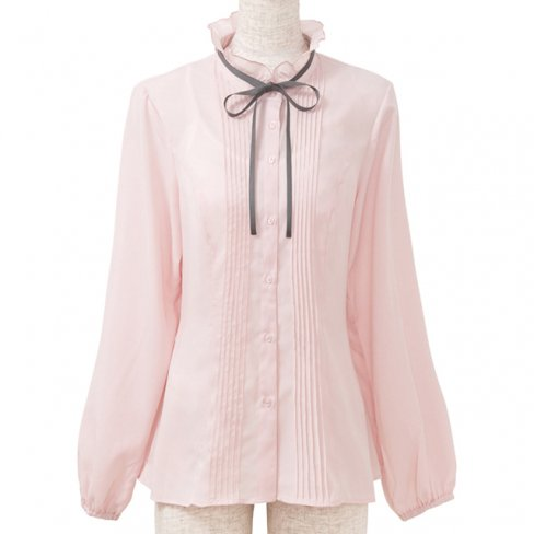 <img class='new_mark_img1' src='https://img.shop-pro.jp/img/new/icons11.gif' style='border:none;display:inline;margin:0px;padding:0px;width:auto;' />Blouse with Ribbon-Pink-(リボン付きピンタックブラウス)