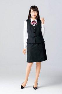 【ボンマックス】ベスト& Aラインスカート(ブラック×ピンク)《コーデュラ®ファブリック・ホームクリーニング・ストレッチ・静電気防止》