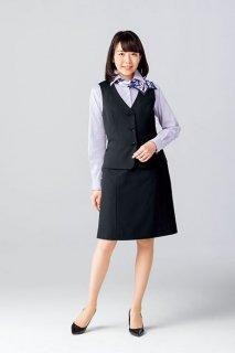 【ボンマックス】ベスト&Aラインスカート(ブラック)《お手頃価格・ストレッチ素材・ホームクリーニング》