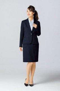 【ボンマックス】ジャケット&タイトスカート(ネイビー)《お手頃価格・ストレッチ素材・ホームクリーニング》