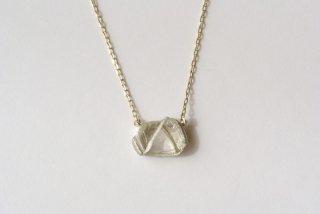 Bazin 白い双子山のダイヤモンド原石ネックレス