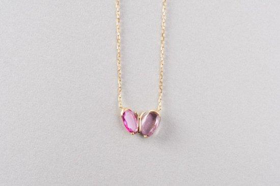 ピンクサファイヤ ちょうちょのネックレス