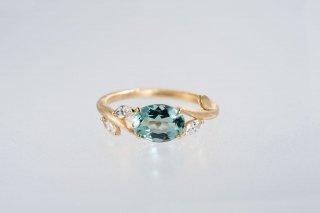 Gena アクアマリンとダイヤモンド 蔦のリング