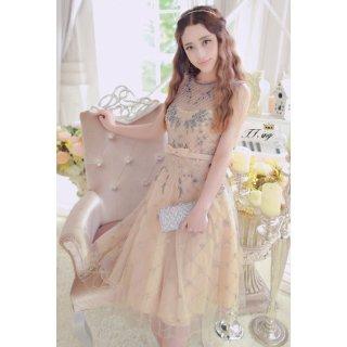 金糸刺繍 リボン付き結婚式パーティードレス 謝恩会ドレス 成人式ドレス 二次会ドレス