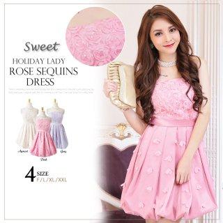 全3色 花モチーフ付きバルーンドレス 結婚式パーティードレス 謝恩会ドレス 成人式ドレス ドレス通販