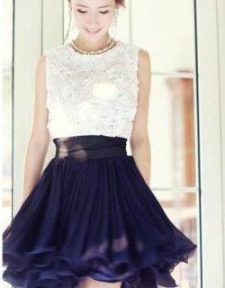 結婚式 パーティードレス 二次会ドレス 謝恩会ドレス 成人式ドレス 胸元バラコサージュ バイカラードレス