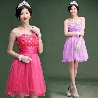 全4色 胸元花モチーフベアトップドレス 結婚式ドレス 成人式ドレス 謝恩会ドレス 二次会