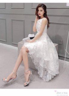 レース ノースリーブ エレガントワンピ 結婚式ドレス 謝恩会ドレス 成人式ドレス 二次会ワンピース