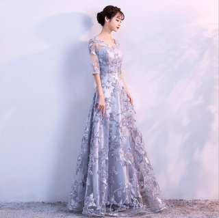 総レース 袖あり ロングドレス 結婚式 成人式 謝恩会ドレス 演奏会ドレス