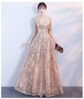 前後V スパンコール刺繍ロングドレス 結婚式 成人式 謝恩会ドレス 演奏会ドレス