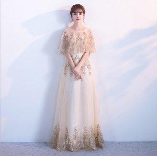華やかビジュー 袖あり ロングドレス 結婚式 成人式 謝恩会ドレス 演奏会ドレス