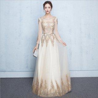 ベルト付き長袖ロングドレス 結婚式 成人式 謝恩会ドレス 演奏会ドレス