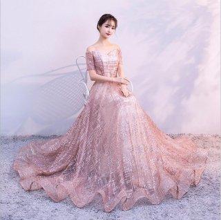 ラメ オフショルダーロングドレス 結婚式 成人式 謝恩会ドレス 演奏会ドレス
