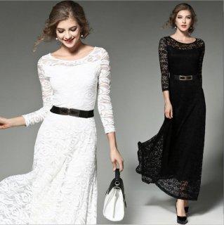 全2色 袖ありロングドレスワンピ 結婚式 成人式 謝恩会ドレス 演奏会ドレス