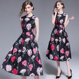 花柄プリント ノースリーブワンピ 結婚式ドレス 謝恩会ドレス 成人式ドレス 二次会ワンピース