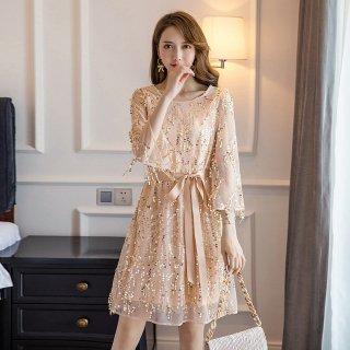 全2色 スパンコール付き袖チュールレス 結婚式ドレス 謝恩会ドレス 成人式ドレス 二次会ワンピース