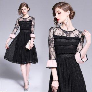 異素材MIX ラメ入りスカート着替えドレス 結婚式ドレス 謝恩会ドレス 成人式ドレス 二次会ワンピース