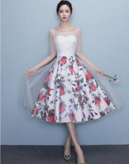 シースルーレース&花柄スカート 袖ありドレス パーティードレス 謝恩会ドレス 成人式ドレス 二次会ワンピース 袖ありドレス