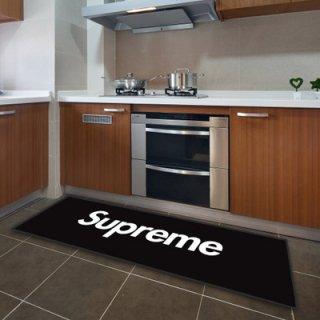 Supreme シュプリーム  ブラック マットカーペット 長方形 滑り止め  フランネル 寝室/玄関/応接間マット インテリア 玄関マット 送料無料