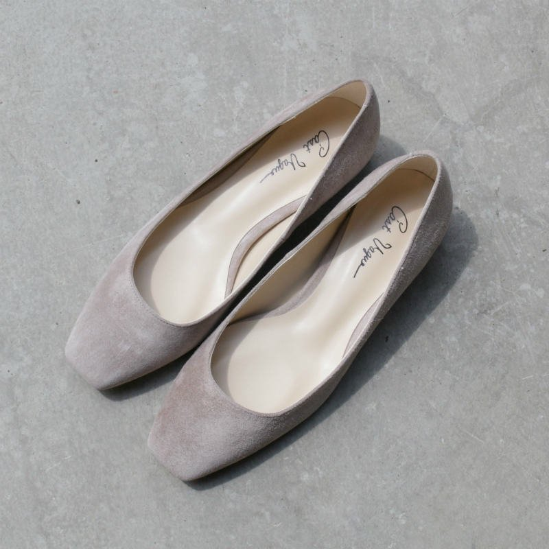 [C'ast Vague] セベージュ Suede Square Pumps (L/GRAY)