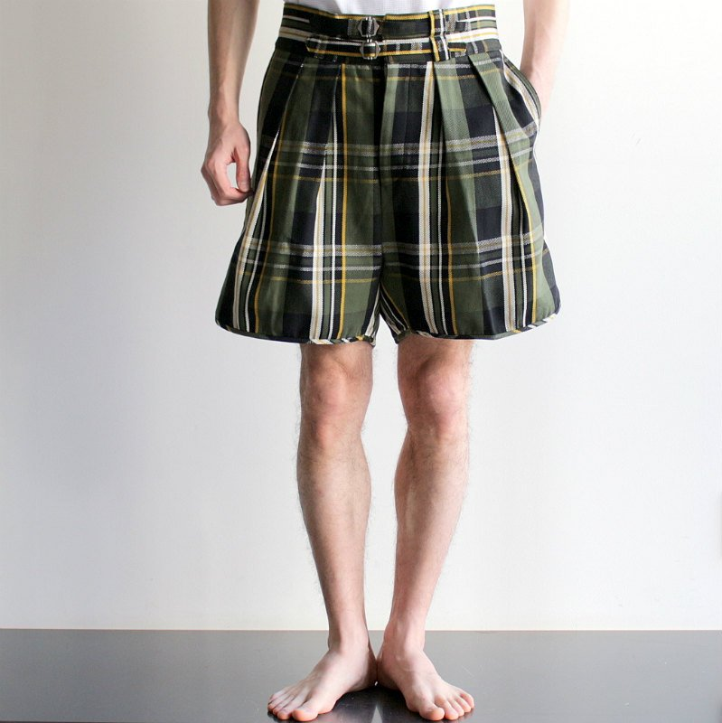 <img class='new_mark_img1' src='//img.shop-pro.jp/img/new/icons8.gif' style='border:none;display:inline;margin:0px;padding:0px;width:auto;' />[NEAT] ニート  Check Flannel / SHORTS (BLACK×GREEN)