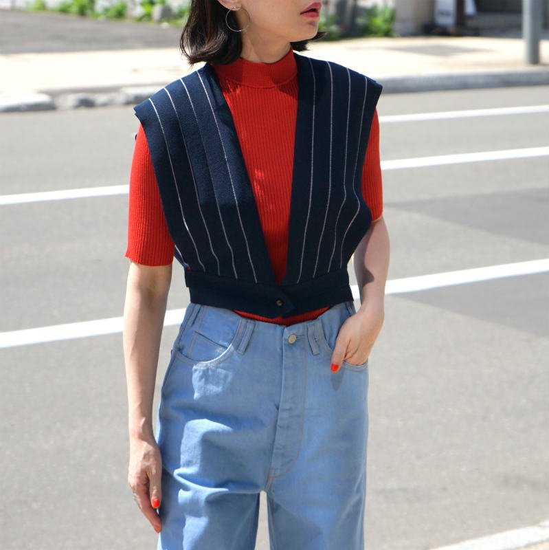 <img class='new_mark_img1' src='https://img.shop-pro.jp/img/new/icons24.gif' style='border:none;display:inline;margin:0px;padding:0px;width:auto;' />[SALE][TAN] タン STRIPES GILET (IVORY・NAVY)