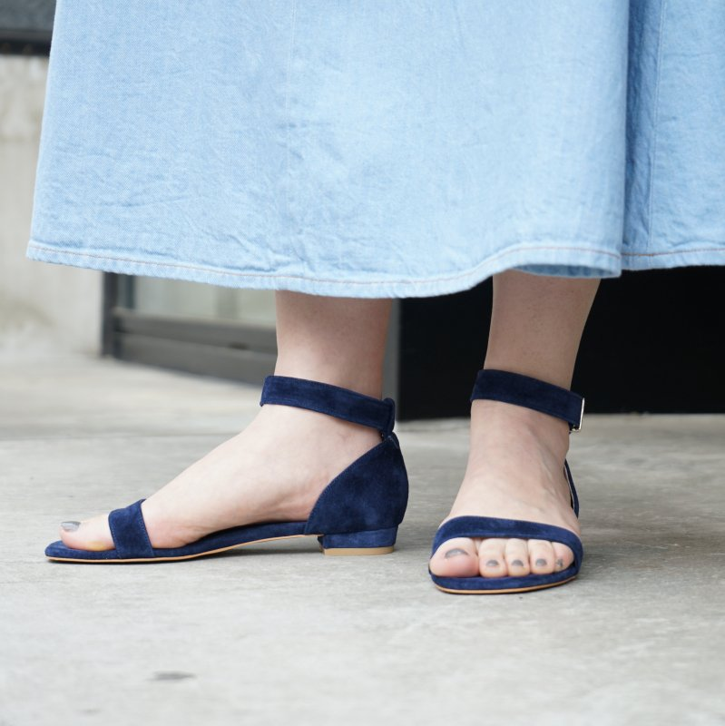 [C'ast Vague] セベージュ Ankle Strap Open toe Sandal(D/Navy)