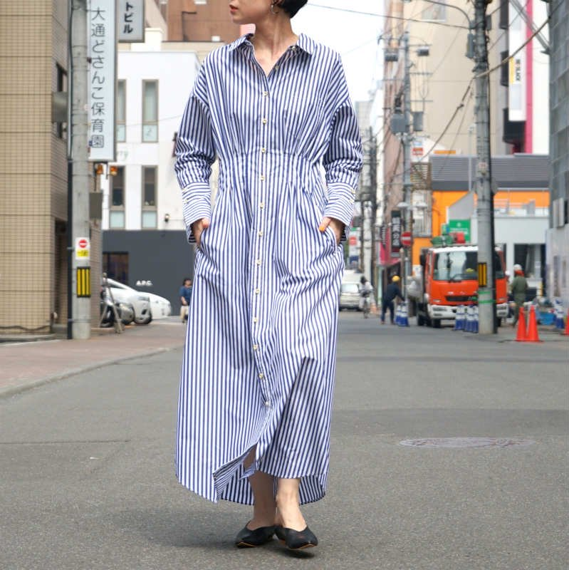<img class='new_mark_img1' src='//img.shop-pro.jp/img/new/icons6.gif' style='border:none;display:inline;margin:0px;padding:0px;width:auto;' />[Uhr] ウーア Stripe Shirt Dress(Blue Stripe)