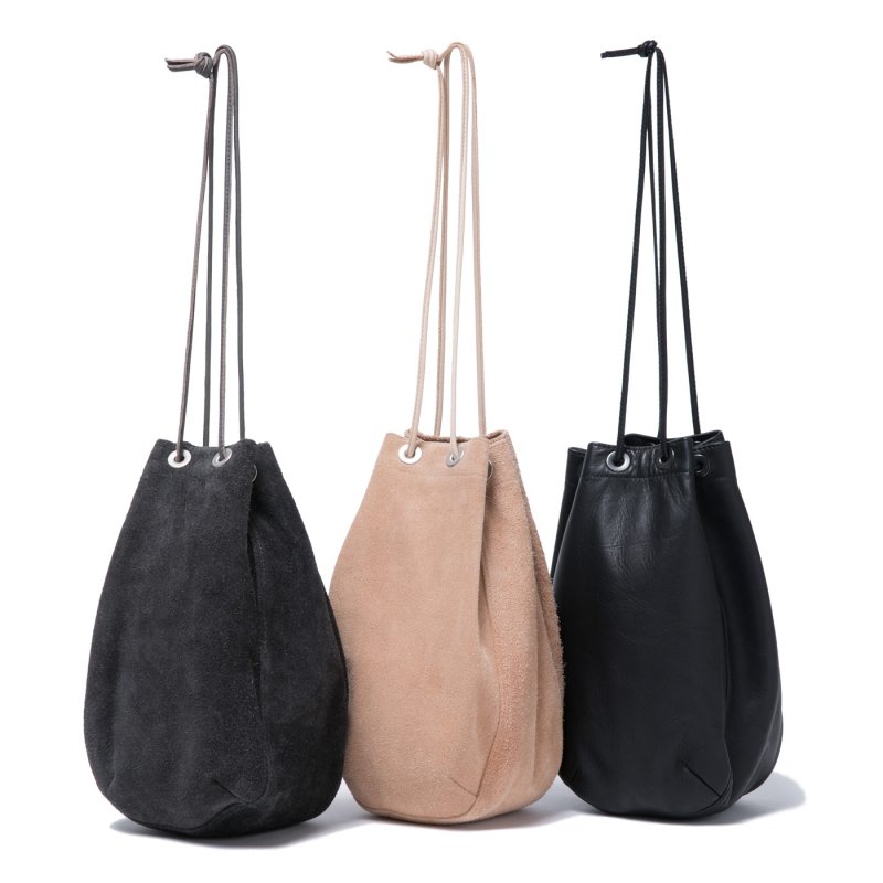 [hobo] ホーボー Cow Leather Drawstring Bag (BLACK,GRAY,BEIGE)