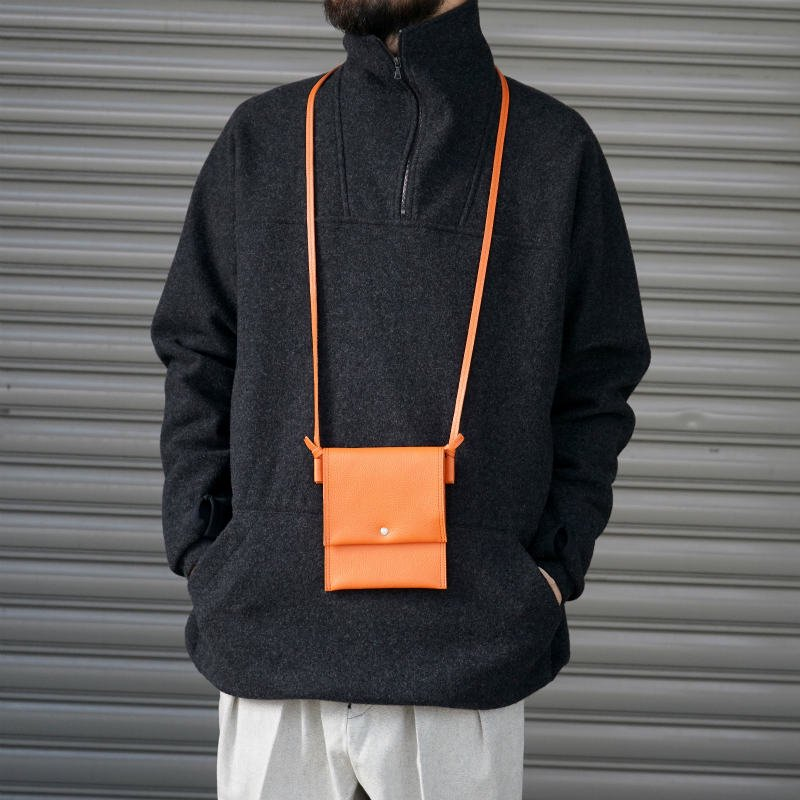 [SALE][hobo] ホーボー Shrink Leather Neck Pouch (Black, Beige, Orange)