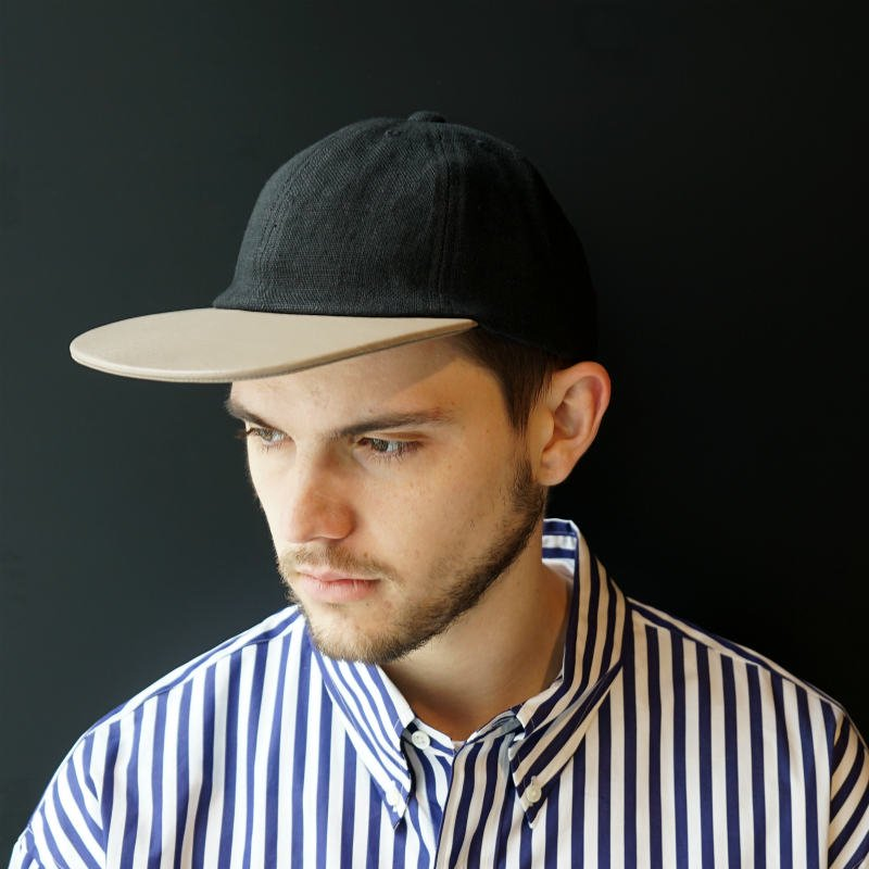 [COMESANDGOES] カムズアンドゴーズ LINEN×LEATHER CAP  (BLACK×GRAY)
