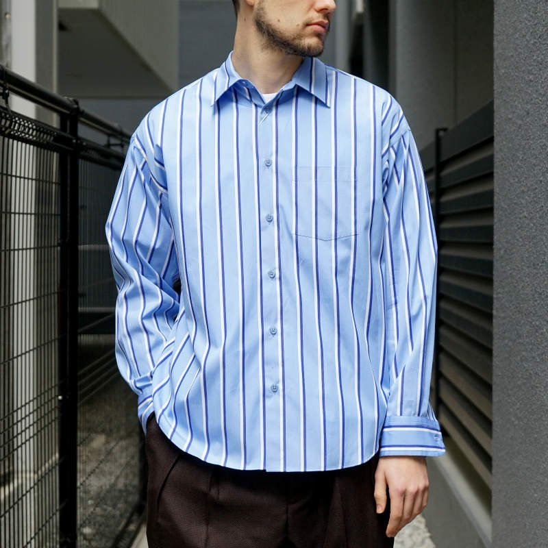 <img class='new_mark_img1' src='https://img.shop-pro.jp/img/new/icons8.gif' style='border:none;display:inline;margin:0px;padding:0px;width:auto;' />[ALLEGE] アレッジ  Standard stripe shirt (SAX) AH19S-SH02