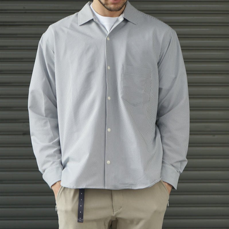 <img class='new_mark_img1' src='https://img.shop-pro.jp/img/new/icons8.gif' style='border:none;display:inline;margin:0px;padding:0px;width:auto;' />[O-] オー STRIPE BAGGY SHIRT (Blue Stripe)