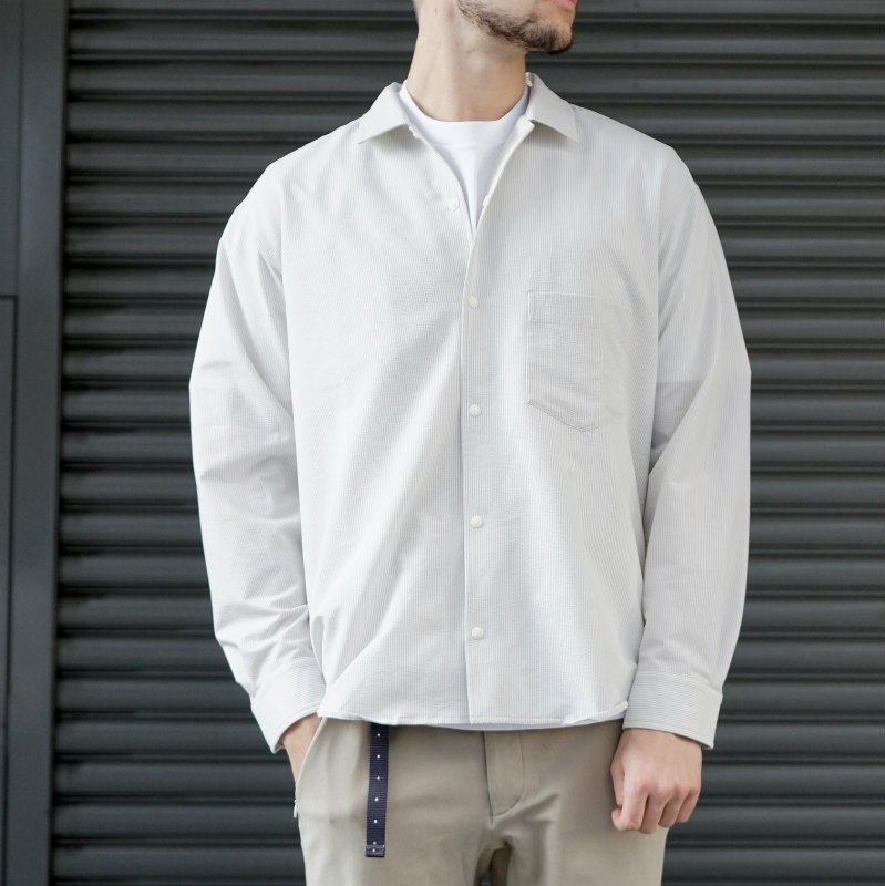 <img class='new_mark_img1' src='https://img.shop-pro.jp/img/new/icons8.gif' style='border:none;display:inline;margin:0px;padding:0px;width:auto;' />[O-] オー STRIPE BAGGY SHIRT (Gray Stripe)