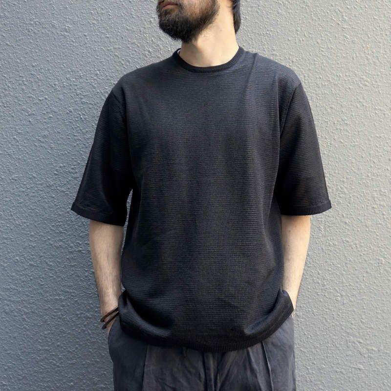 <img class='new_mark_img1' src='https://img.shop-pro.jp/img/new/icons8.gif' style='border:none;display:inline;margin:0px;padding:0px;width:auto;' />[walenode] ウェルノード Washable Return Washi Crew neck T-shirt  (BLACK)