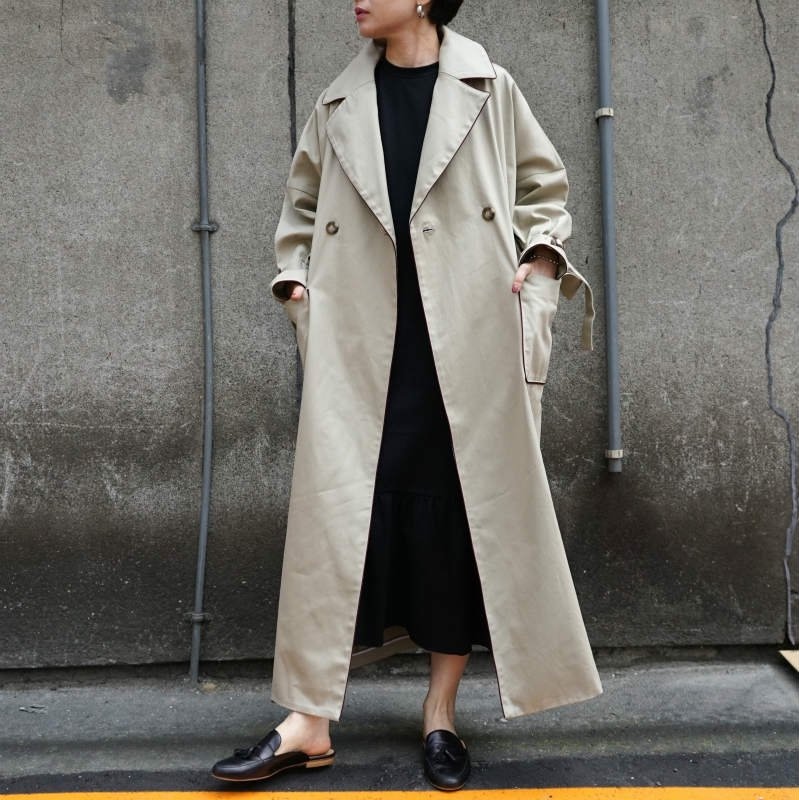 [RIM.ARK]リムアーク Piping Collar Trench Coat (BEIGE)