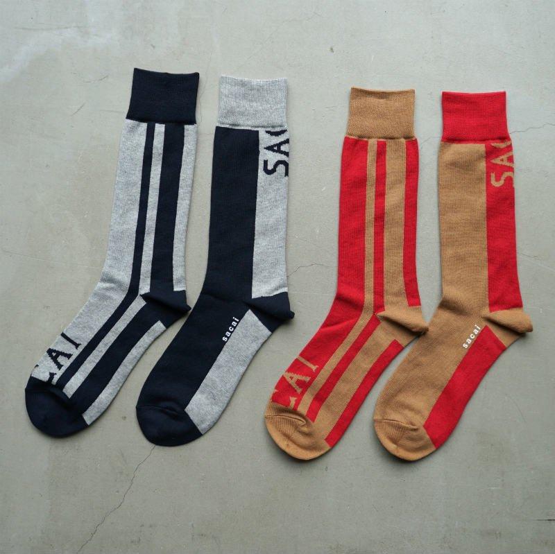 <img class='new_mark_img1' src='https://img.shop-pro.jp/img/new/icons6.gif' style='border:none;display:inline;margin:0px;padding:0px;width:auto;' />[sacai] サカイ 19-04786 Blanket Socks(Navy×L/Gray・Beige×Red)