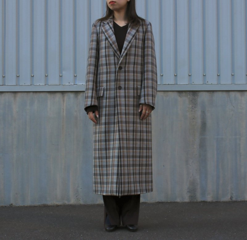 <img class='new_mark_img1' src='https://img.shop-pro.jp/img/new/icons24.gif' style='border:none;display:inline;margin:0px;padding:0px;width:auto;' />[SALE][AURALEE] DOUBLE FACE CHECK CHESTERFIELD COAT (LIGHT BLUE GUNCLUB CHECK・BROWN CHECK) A9AC03BN