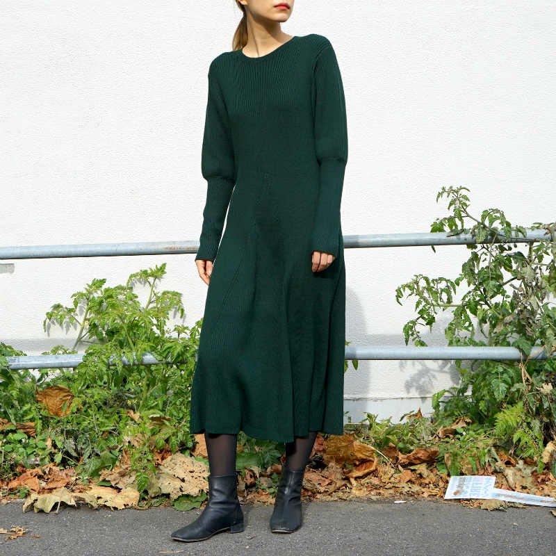 [RIM.ARK] リムアーク Wool knit flare OP(GREEN)
