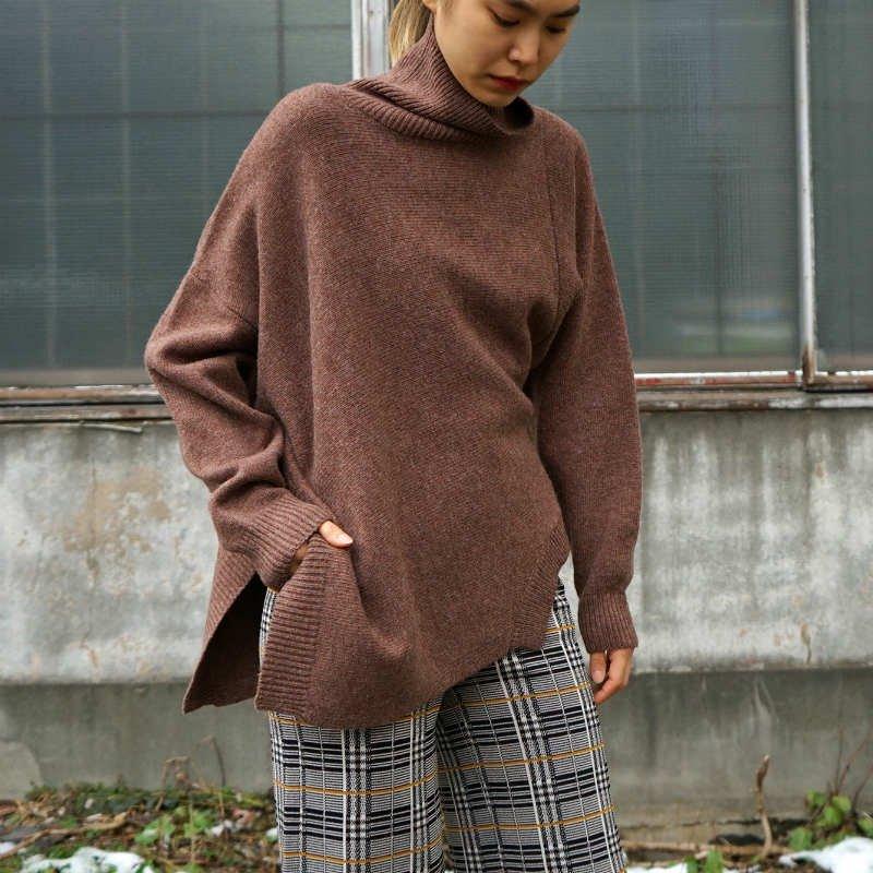 [RIM.ARK] リムアーク Deformation knit tops(BROWN)