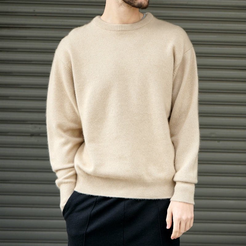 <img class='new_mark_img1' src='https://img.shop-pro.jp/img/new/icons8.gif' style='border:none;display:inline;margin:0px;padding:0px;width:auto;' />[HERILL] ヘリル CASHMERE GOLDENCASH CREW (N_BEIGE)